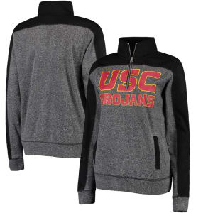 USC Trojans Women's Serena Fleece Quarter-Zip Sweatshirt - Charcoal