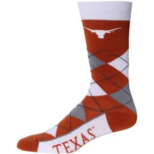 Texas Longhorns For Bare Feet Argyle Crew Socks