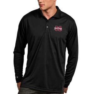 Mississippi State Bulldogs Antigua Exceed Long Sleeve Polo - Black