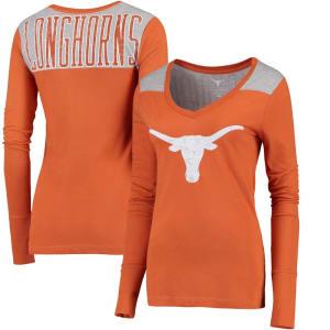 Texas Longhorns Women's Elba Contrast Long Sleeve V-Neck T-Shirt - Texas Orange