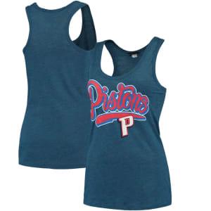 Detroit Pistons New Era Women's Tri-Blend Tank Top - Heathered Royal