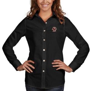 Boston College Eagles Antigua Women's Dynasty Woven Long Sleeve Button-Up Shirt - Black