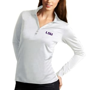 LSU Tigers Antigua Women's Exceed Long Sleeve Polo - White