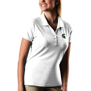 Michigan State Spartans Antigua Women's Pique Xtra-Lite Polo - White
