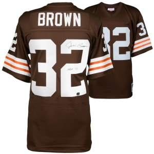 """Jim Brown Cleveland Browns Fanatics Authentic Autographed Mitchell & Ness Replica Jersey with """"HOF"""" Inscription"""