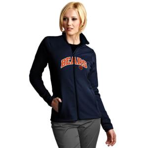 Chicago Bears Antigua Women's Leader Full Chest Graphic Desert Dry Full-Zip Jacket - Navy