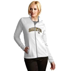 New Orleans Saints Antigua Women's Leader Full Chest Graphic Desert Dry Full-Zip Jacket - White
