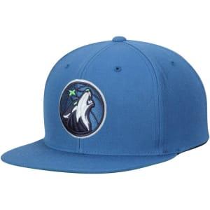 Minnesota Timberwolves Mitchell & Ness Current Logo Wool Solid Adjustable Snapback Hat - Blue