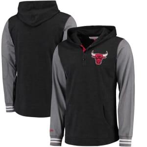 Chicago Bulls Mitchell & Ness Mid-Season Long Sleeve Hoodie T-Shirt - Black