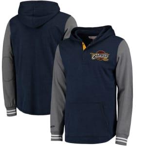 Cleveland Cavaliers Mitchell & Ness Mid-Season Long Sleeve Hoodie T-Shirt - Navy