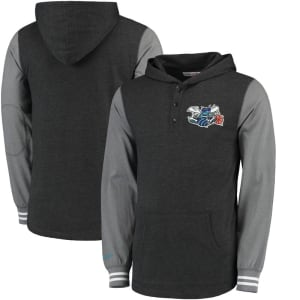 Charlotte Hornets Mitchell & Ness Mid-Season Long Sleeve Hoodie T-Shirt - Black