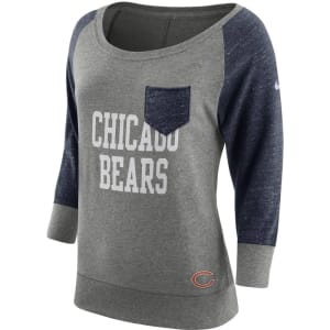 Chicago Bears Nike Women's Tailgate Vintage Raglan 3/4-Sleeve T-Shirt - Heathered Gray/Navy