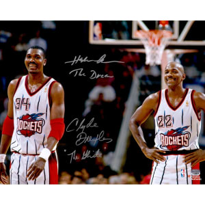 "Hakeem Olajuwon, Clyde Drexler Houston Rockets Fanatics Authentic Autographed 16"" x 20"" Photograph with The Dream and The Glide Inscriptions"
