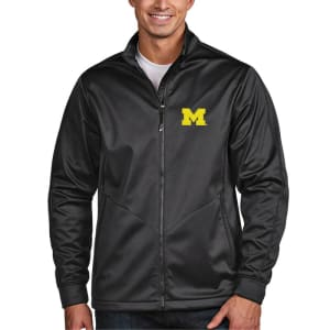 Michigan Wolverines Antigua Golf Full-Zip Jacket - Charcoal