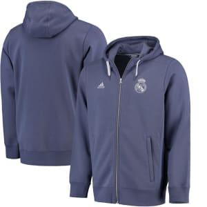 Real Madrid adidas 3-Stripe Full-Zip Hoodie - Purple