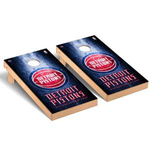 Detroit Pistons 2' x 4' Metal Museum Cornhole Board Tailgate Toss Set