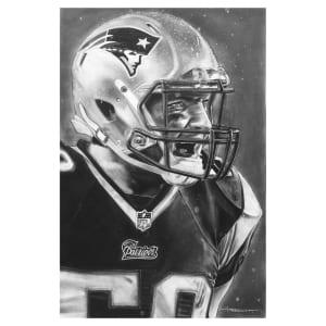 "New England Patriots Deacon Jones Foundation 30"" x 20"" Helmet Series Fine Art Canvas"