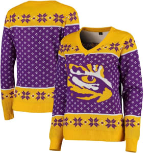 LSU Tigers Big Logo Ugly Christmas V-Neck Sweater - Purple