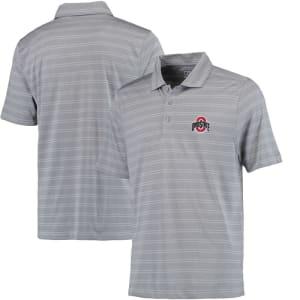 Ohio State Buckeyes Cutter & Buck Interbay Melange Stripe DryTec Polo - Heathered Gray