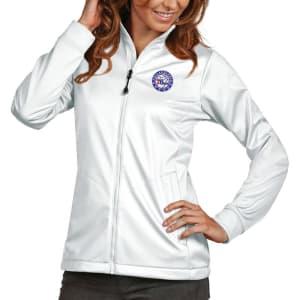 Philadelphia 76ers Antigua Women's Golf Full-Zip Jacket - White