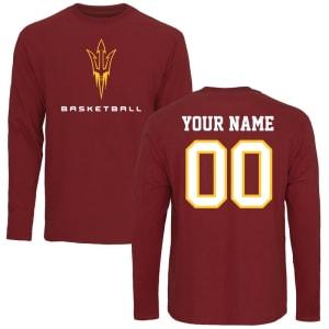 Arizona State Sun Devils Personalized Basketball Long Sleeve T-Shirt - Maroon