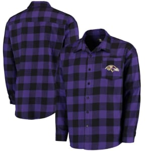 Baltimore Ravens Klew Large Check Flannel Button-Up Shirt - Purple