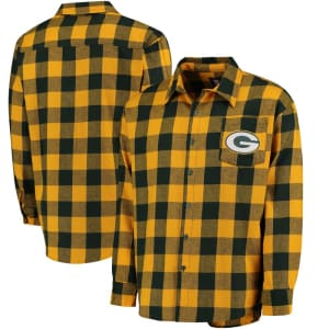 Green Bay Packers Klew Large Check Flannel Button-Up Shirt - Green