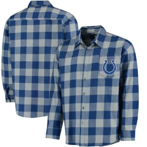Indianapolis Colts Klew Large Check Flannel Button-Up Shirt - Royal