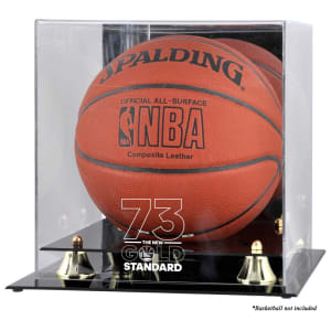 Golden State Warriors Fanatics Authentic Record Breaking Season Logo Golden Classic Basketball Display Case