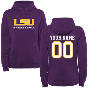 LSU Tigers Women's Personalized Basketball Pullover Hoodie - Purple