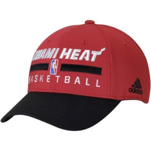 Miami Heat adidas 2-Tone Practice Structured Snapback Hat - Red/Black