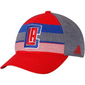 LA Clippers adidas Team Logo Striped Flex Hat - Red/Gray