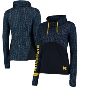 Michigan Wolverines Colosseum Women's Scaled Cowl Neck Pullover Hoodie - Navy/Black