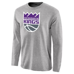 Sacramento Kings Primary Logo Long Sleeve T-Shirt - Heather Gray