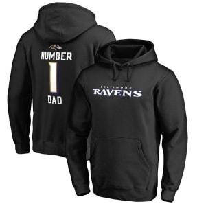 Baltimore Ravens NFL Pro Line Number 1 Dad Pullover Hoodie - Black