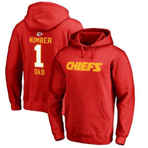 Kansas City Chiefs NFL Pro Line Number 1 Dad Pullover Hoodie - Red