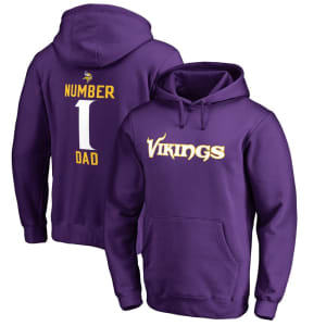 Minnesota Vikings NFL Pro Line Number 1 Dad Pullover Hoodie - Purple