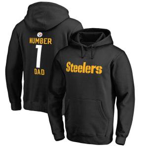 Pittsburgh Steelers NFL Pro Line Number 1 Dad Pullover Hoodie - Black