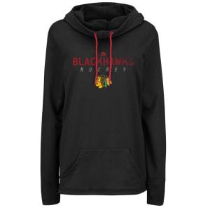 Chicago Blackhawks Majestic Women's Trapezoid Pullover Hoodie - Black