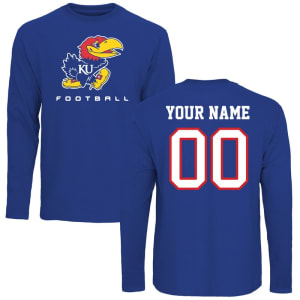 Kansas Jayhawks Personalized Football Long Sleeve T-Shirt - Royal