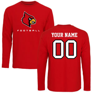 Louisville Cardinals Personalized Football Long Sleeve T-Shirt - Red
