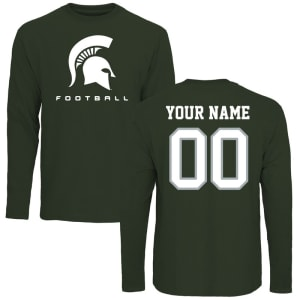 Michigan State Spartans Personalized Football Long Sleeve T-Shirt - Green -