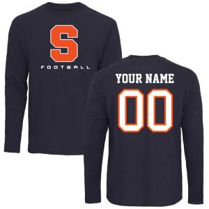 Syracuse Orange Personalized Football Long Sleeve T-Shirt - Navy