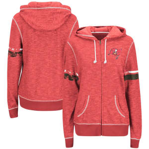 Tampa Bay Buccaneers Majestic Women's Plus Size Athletic Tradition Full-Zip Hoodie - Red