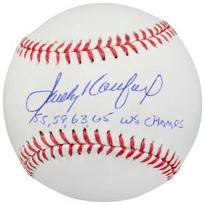 "Sandy Koufax Los Angeles Dodgers Fanatics Authentic Autographed Baseball with ""55,59,63,65 WS Champs"" Inscription"