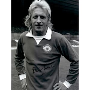"Denis Law Manchester United Autographed 12"" x 16"" Pose Photograph - ICONS"