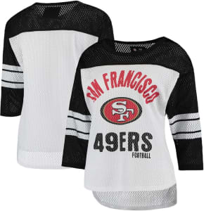 San Francisco 49ers G-III 4Her by Carl Banks Women's First Team Three-Quarter Sleeve Mesh T-Shirt - White/Black