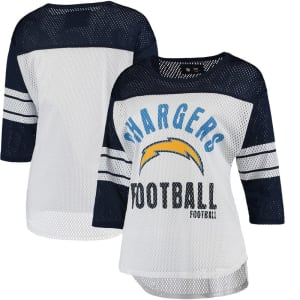 Los Angeles Chargers G-III 4Her by Carl Banks Women's First Team Three-Quarter Sleeve Mesh T-Shirt - White/Navy