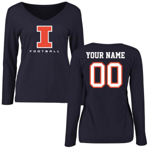 Illinois Fighting Illini Women's Personalized Football Long Sleeve T-Shirt - Navy