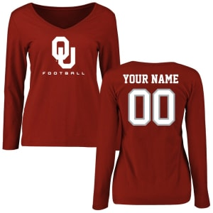 Oklahoma Sooners Women's Personalized Football Long Sleeve T-Shirt - Crimson